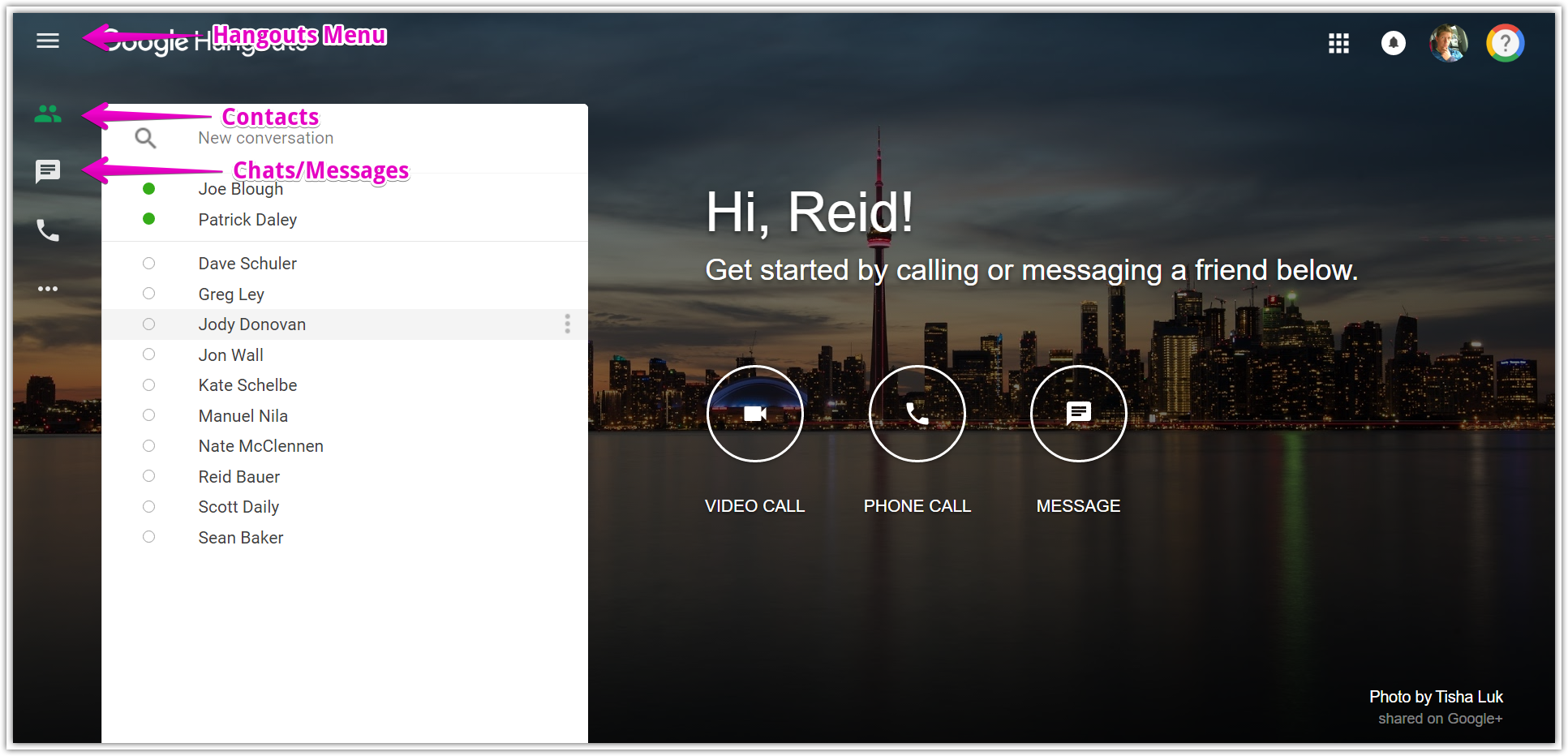Video Chatting with Google Hangouts [Old Version] : Teton