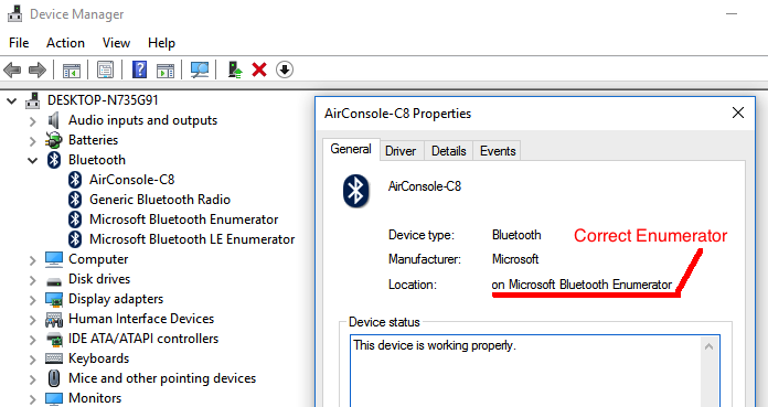Using Airconsole via Bluetooth on Windows : Get Console Support