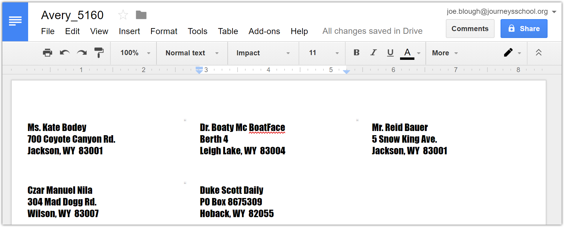 How to Create Mailing Labels in Google Docs : Teton Science