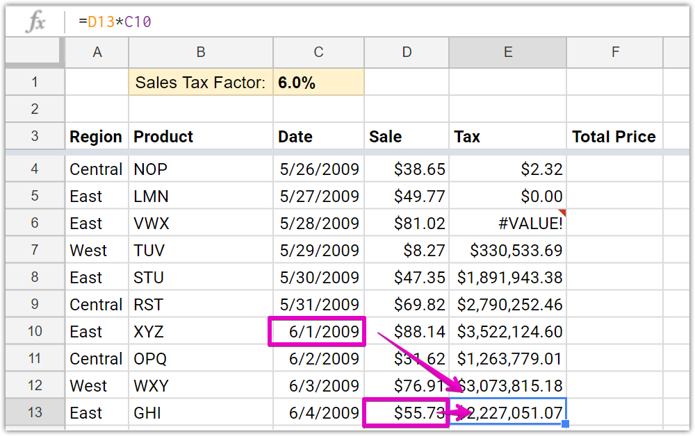 this formula is now looking for the sales tax in cell c1 which is actually a date and multiplying it by cell d13 this results in the crazy sales tax - 55 How Copy Excel Sheet Into Word Relevant