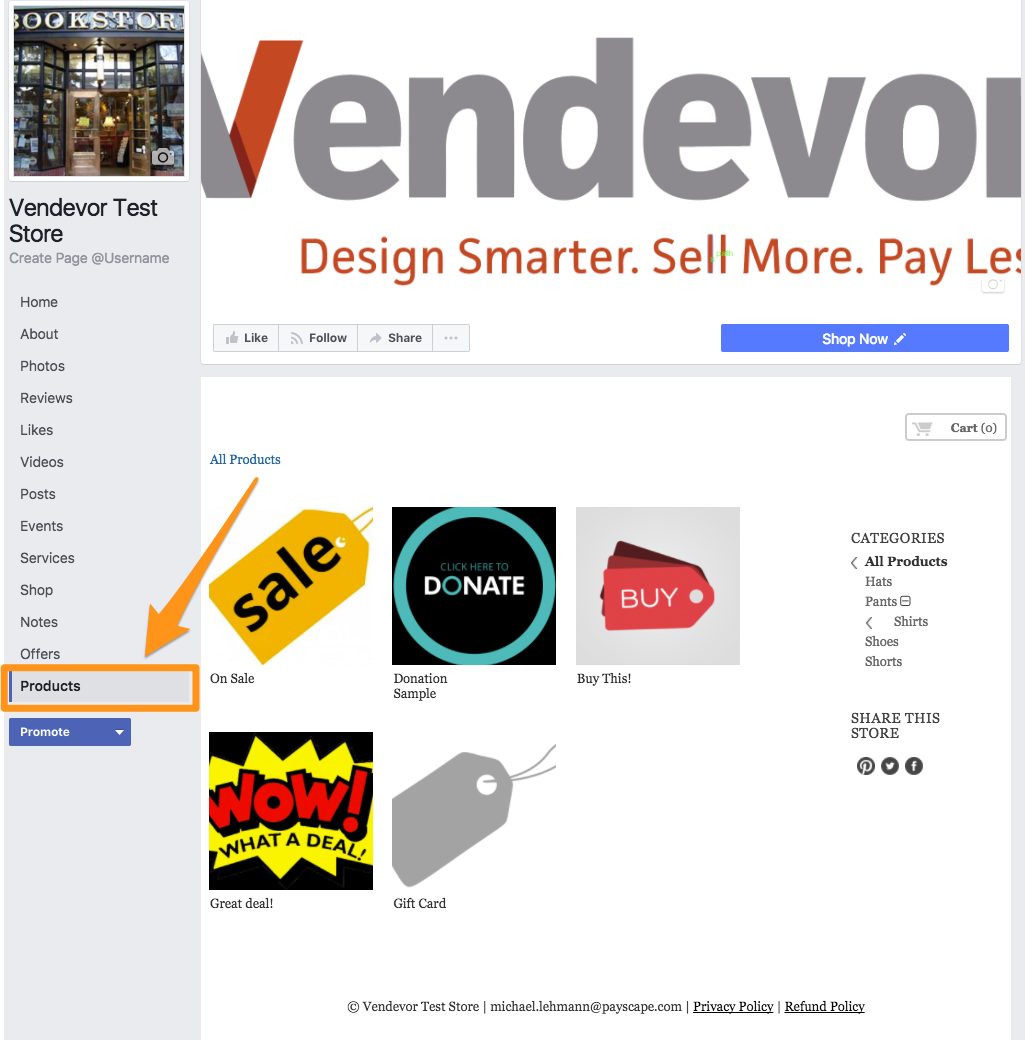 Posting your Vendevor store to Facebook : Support
