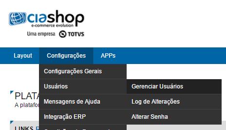 Configurações > Usuários > Gerenciar usuários