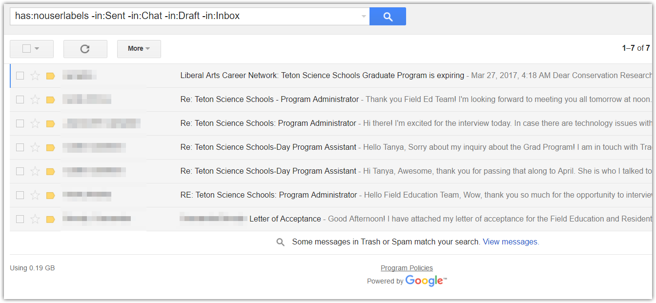 How to Find Unlabeled Mail in Google Mail : Teton Science