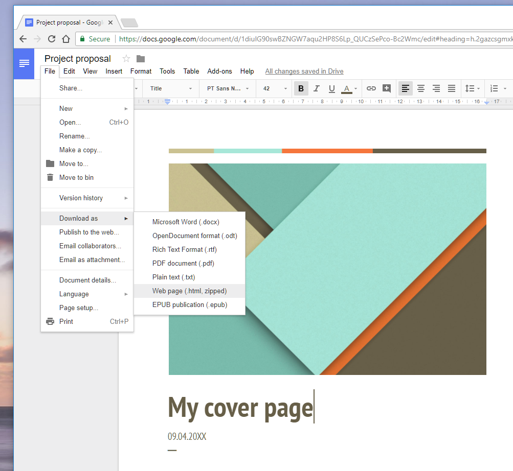Creating pages using Google Docs : ZenContract