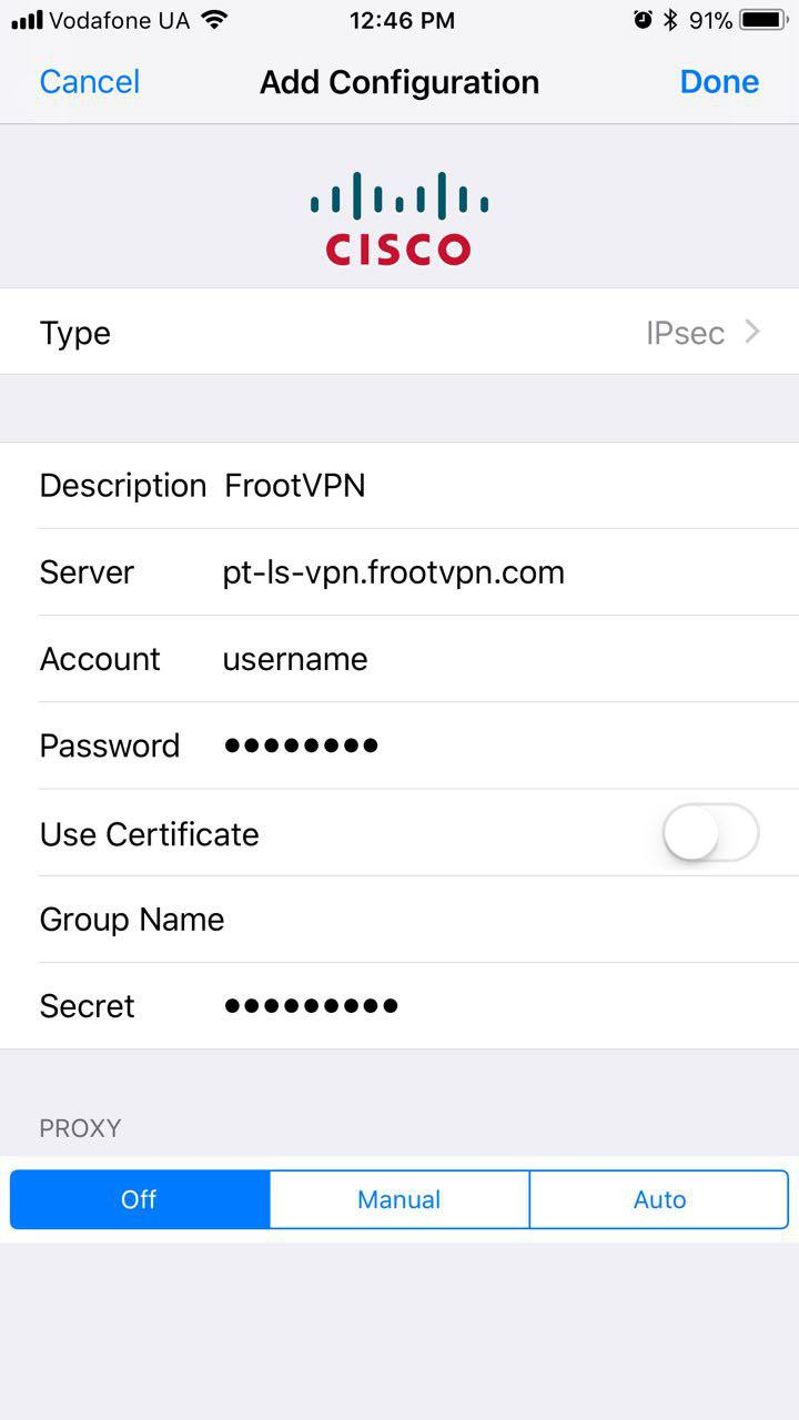IPsec IKEv1 for iOS (iPhone / iPad) Installation Guide