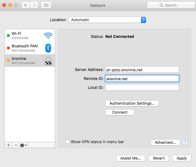 Anonine: IPsec IKEv2 Installation Guide for Mac OS : Anonine