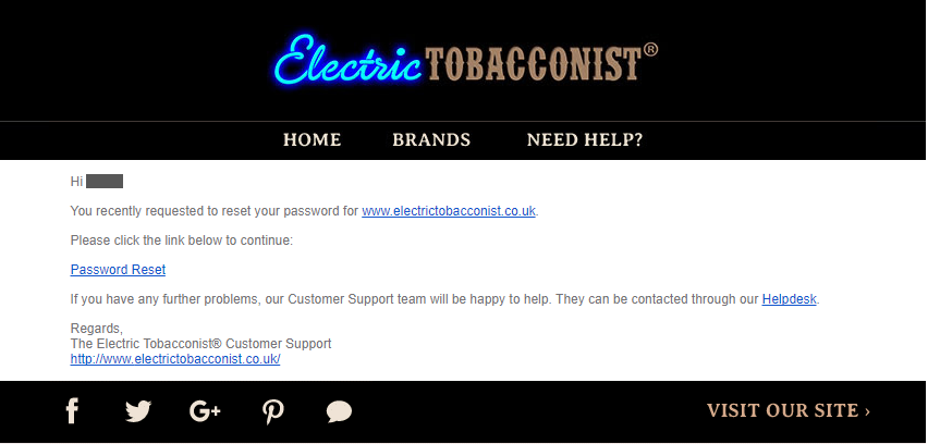 Electric Tobacconist password reset email