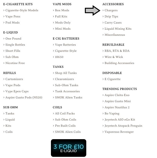 Electric Tobacconist® UK departments menu - chargers menu