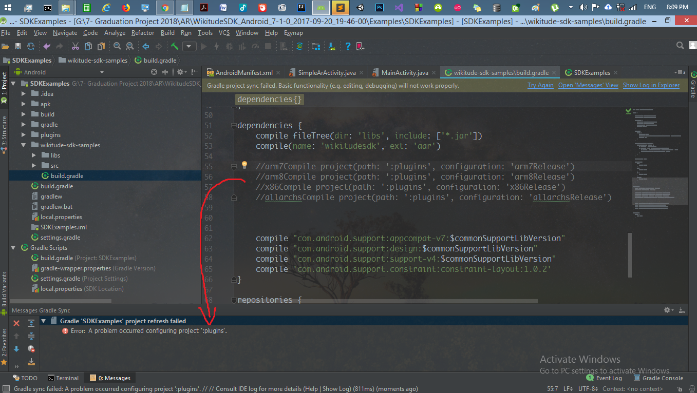 Error when import wikitude samples in android studio for