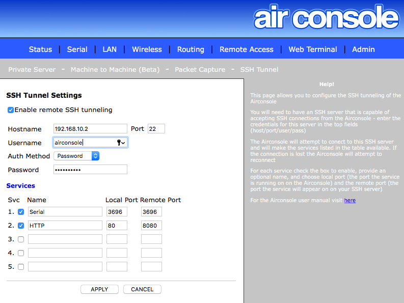 Using the SSH Tunnelling Feature on Airconsole : Get Console Support