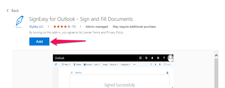 Installing the SignEasy Outlook Add-in : SignEasy