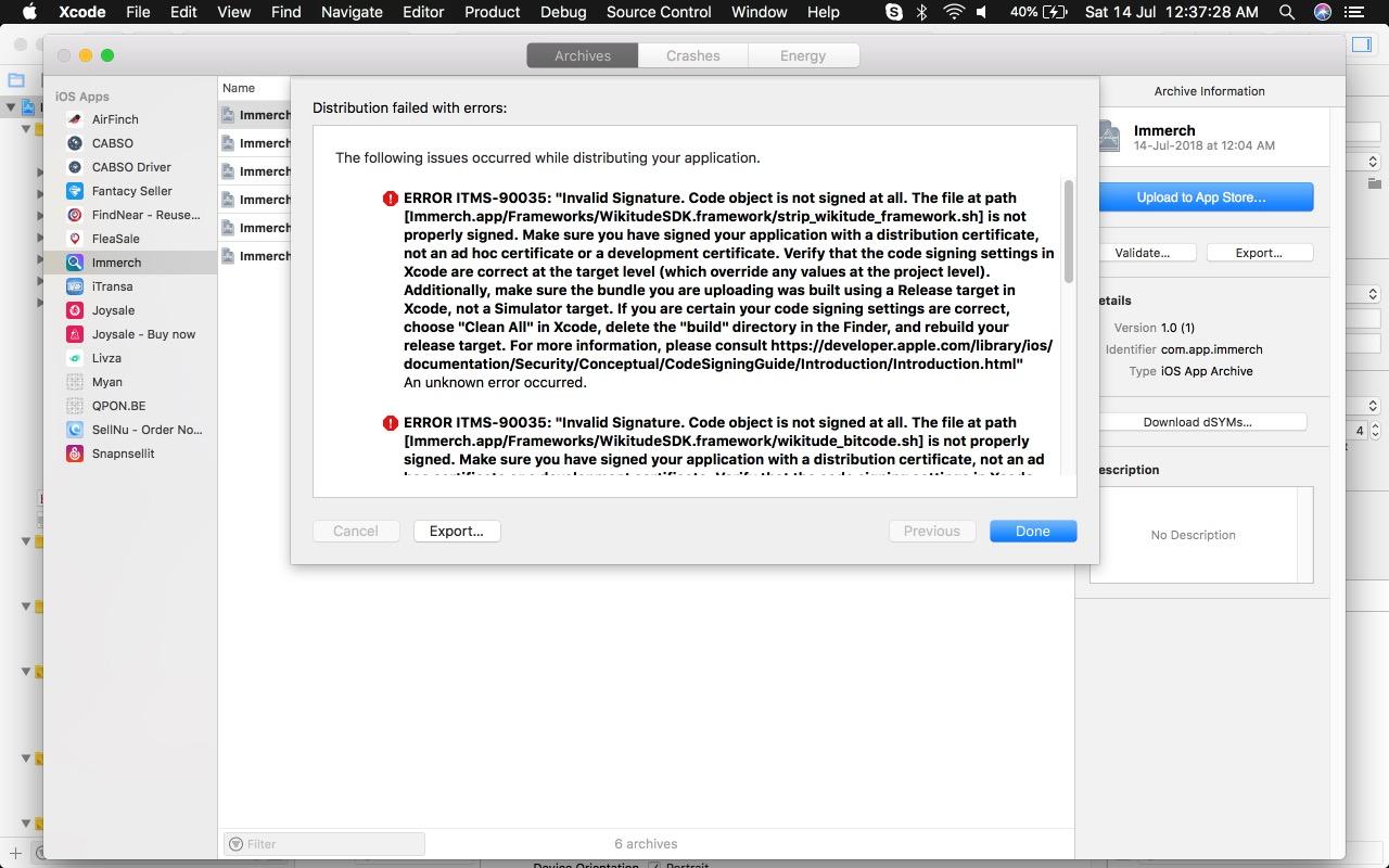iOS Distribution to AppStores fails - Invalid Signature