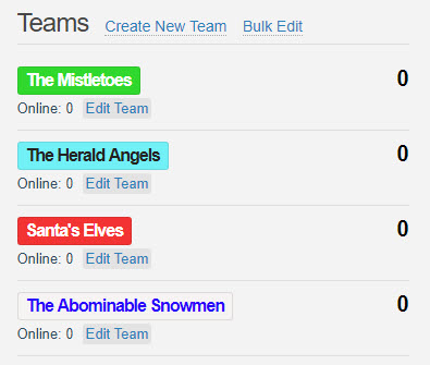 Christmas Themed Team Battle Quiz Game : Conferences i/o Support