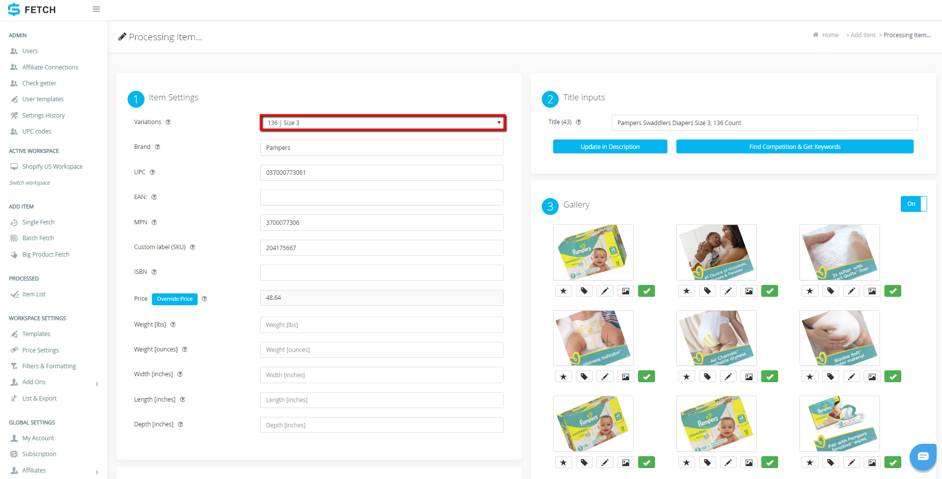 How To List An Individual Variation Item To Shopify Using Sku Fetch And Wise Lister Sku Grid