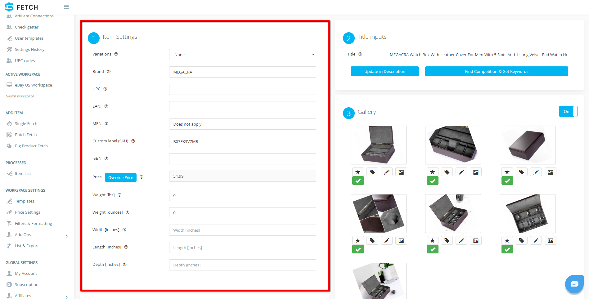 How to List a Single Item Using Sku Fetch and eBay Selling Manager