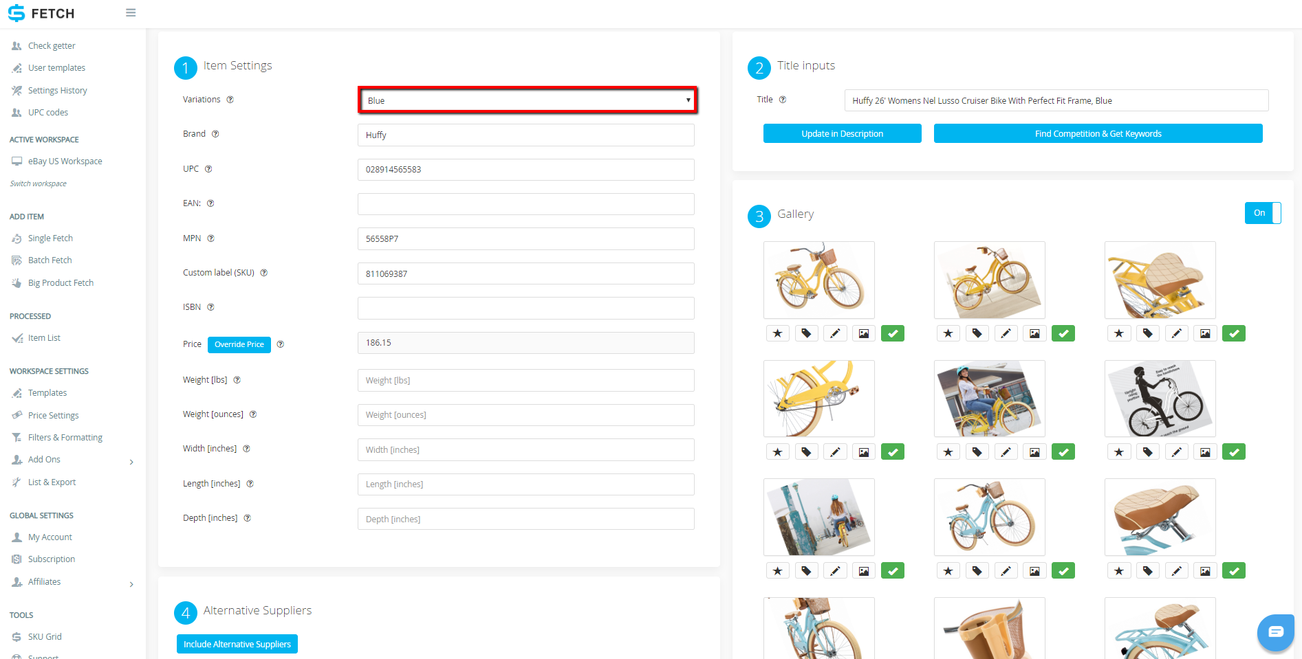 How To List A Single Variation Item Using Sku Fetch And Ebay Selling Manager Without Api Access Sku Grid