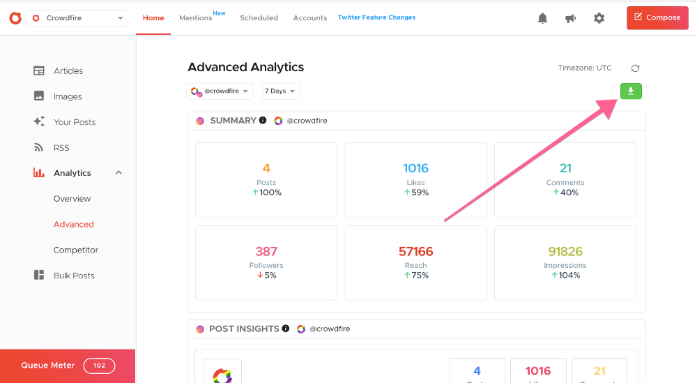 How to download Advanced Analytics reports on Crowdfire :