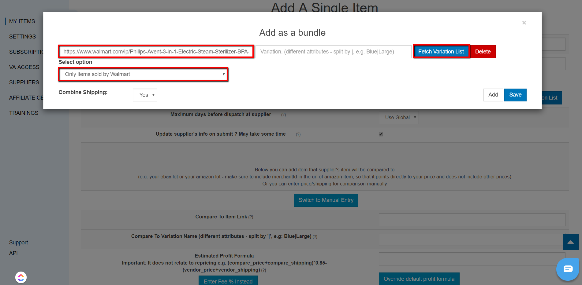 How to Add a Bundled Item for Tracking & Repricing in Sku Grid : Sku Grid