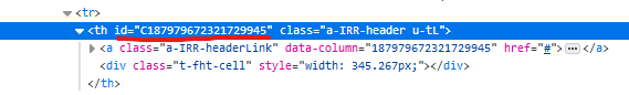 Default column heading id