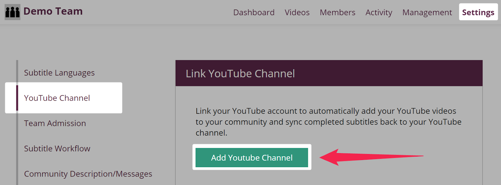 Add YouTube channel button highlighted on settings youtube channel page