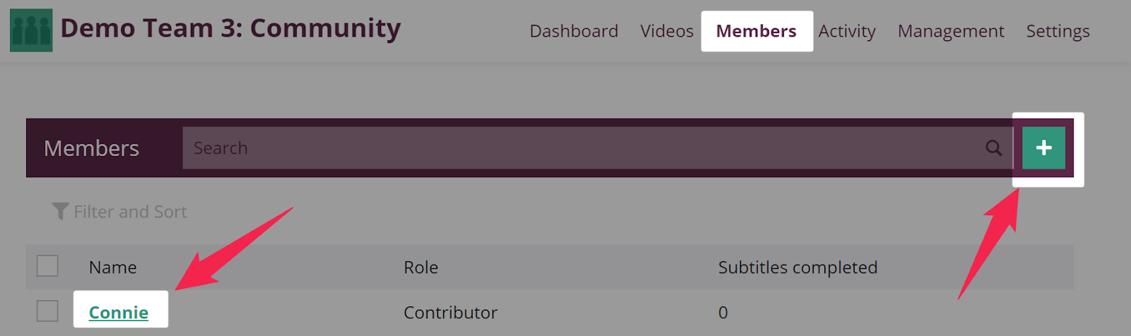 Team member page on Amara teams with button to add members and member profile links highlighted