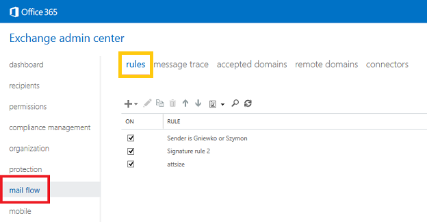 Exchange admin center: Accessing mail flow rules