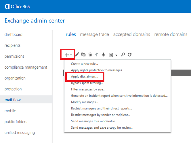 The list of available Mail flow rules' actions, which includes the Apply disclaimer action