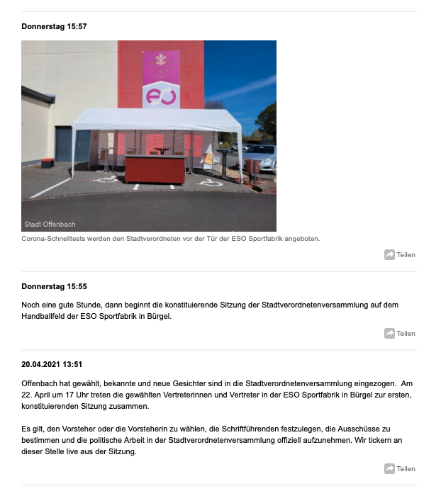 Live aus der Stadtverordnetenversammlung: Offenbach berichtet mit Liveblogs über aktuelle Anträge und Beschlüsse aus der Kommunalpolitik (offenbach.de)