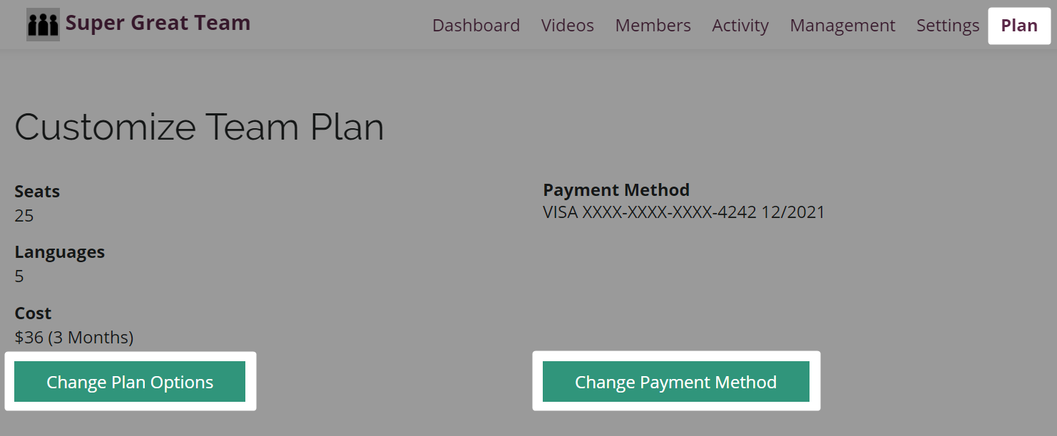 Highlighted buttons to change plan or payment options in Amara team Plan