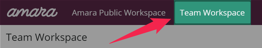 Header navigation with Team Workspace highlighted