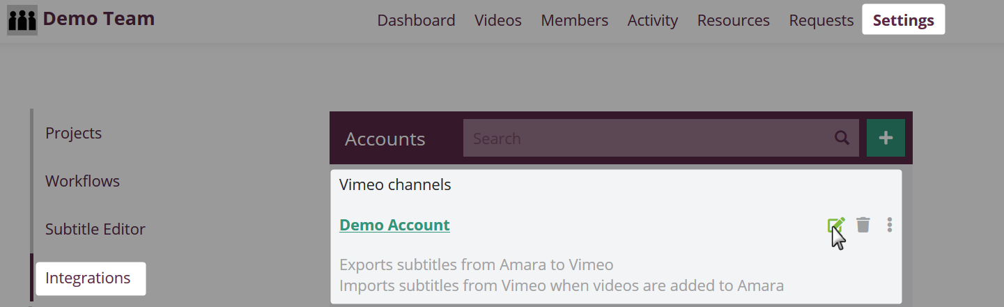 Example of a Vimeo account added to a new amara team on the integrations settings page