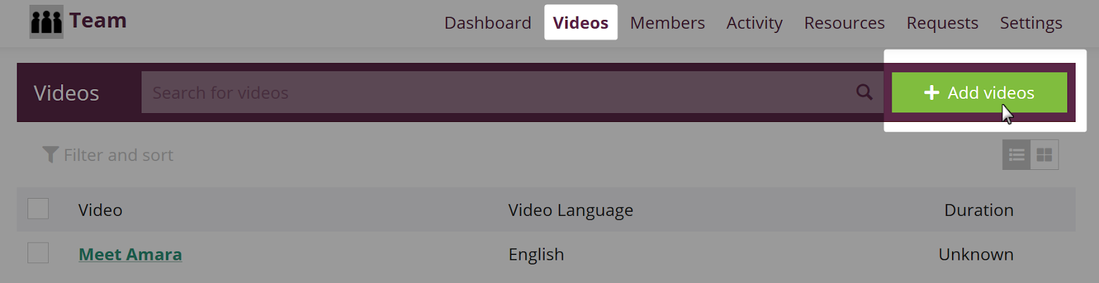 Videos tab on team with add video button highlighted