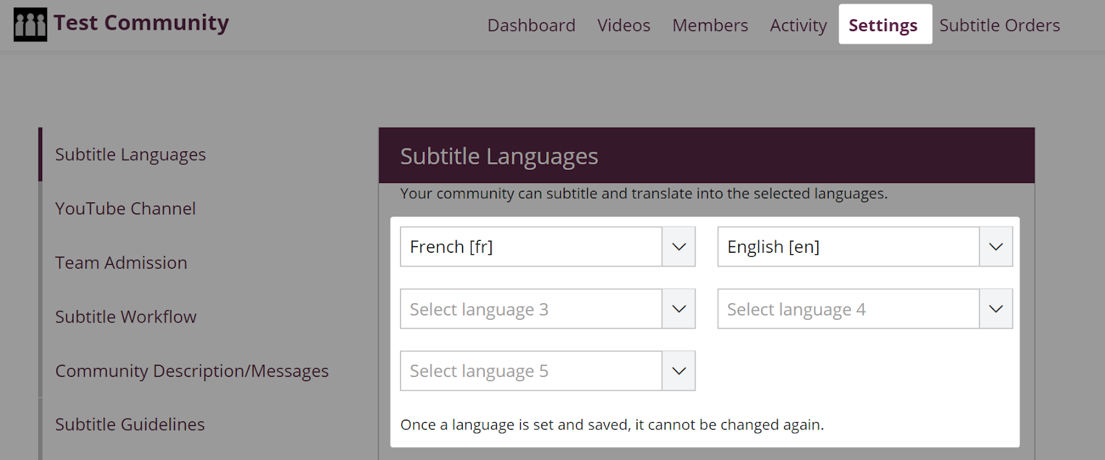 Subtitle language selector in subtitle language settings page in amara community team