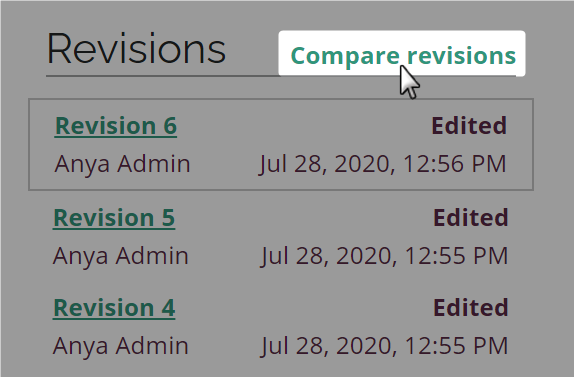 Compare revisions link highlighted on new style Amara subtitle page