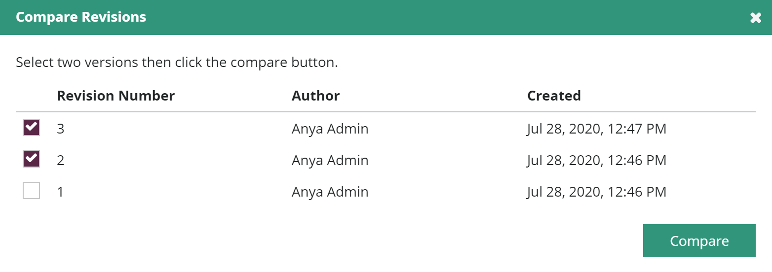 Select revisions dialog with two revisions selected in new style Amara interface