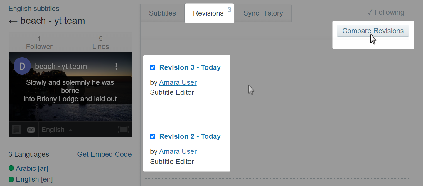 Revisions tab on an old style subtitle page on Amara with two revisions selected