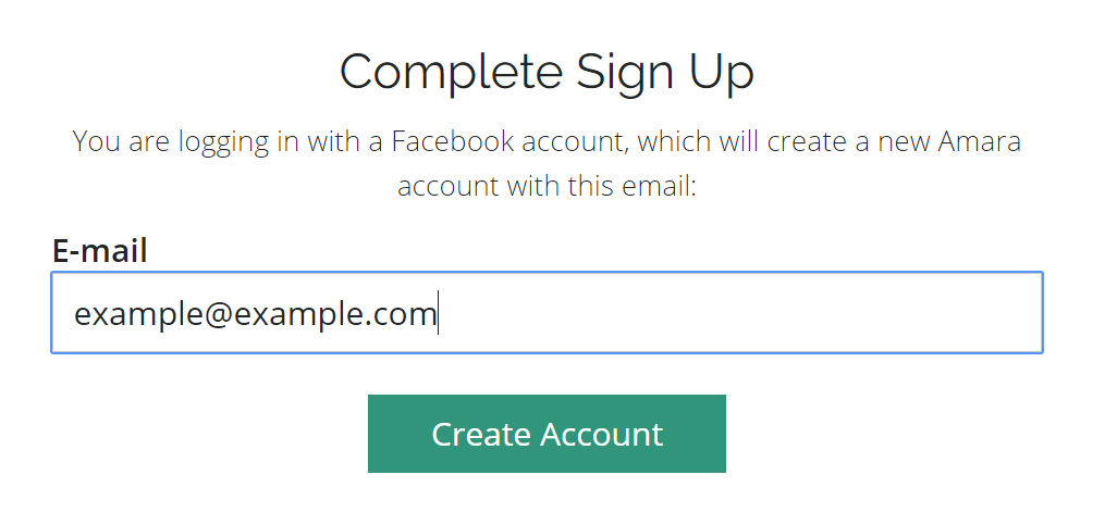 Complete one-click sign up by entering the email associated with your existing social network account