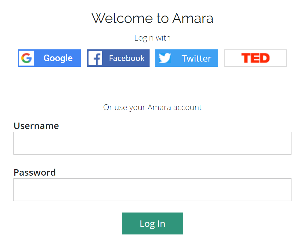 Log in page for amara with one-click options or regular log in