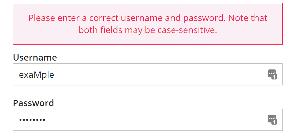 Log in page showing warning message about case-sensitive fields for username and password