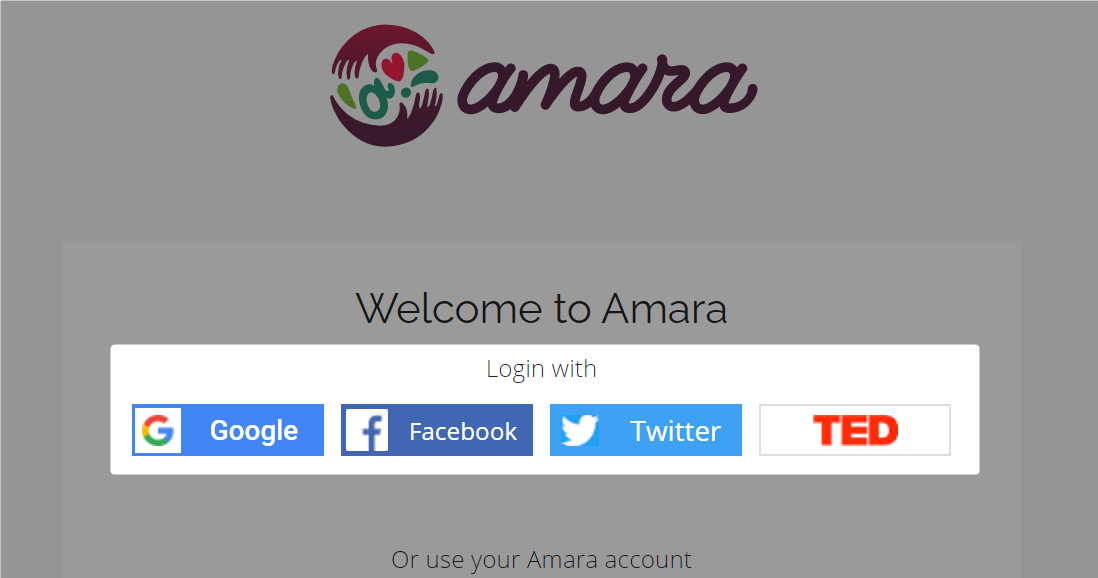 Single-click log in options highlighted on Amara login page