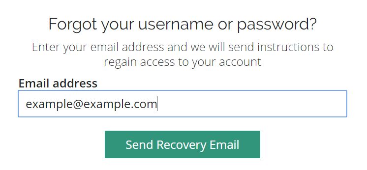 Forgot your username or password page with example email address entered