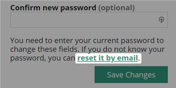 Reset it by email link highlighted on the Amara user account page