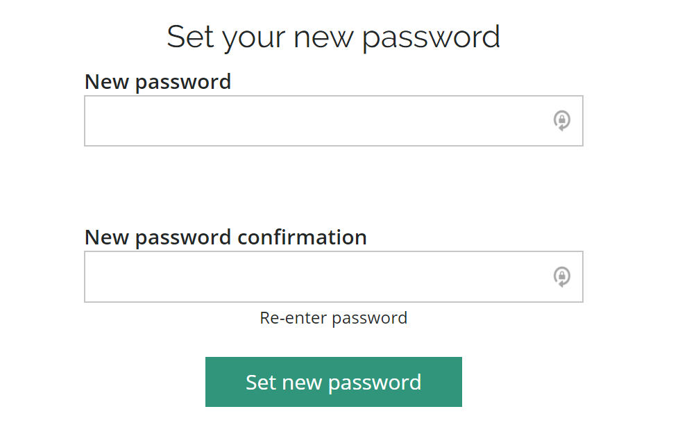 Set new password page with two fields to confirm your password before setting