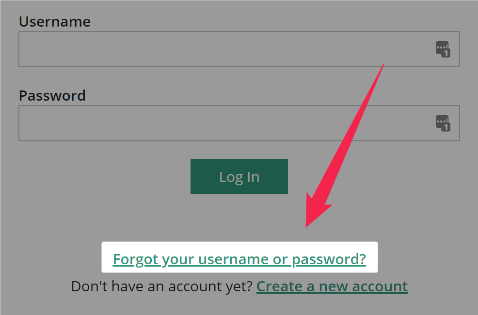 A pink arrow points to a highlighted area on the log in page that helps you if you forgot your username or password on Amara