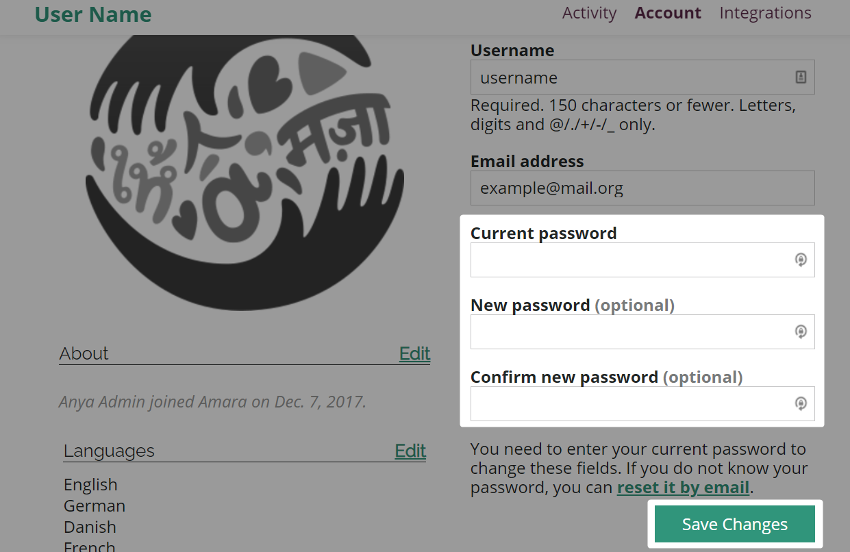 Account page with password change fields and save changes button highlighted