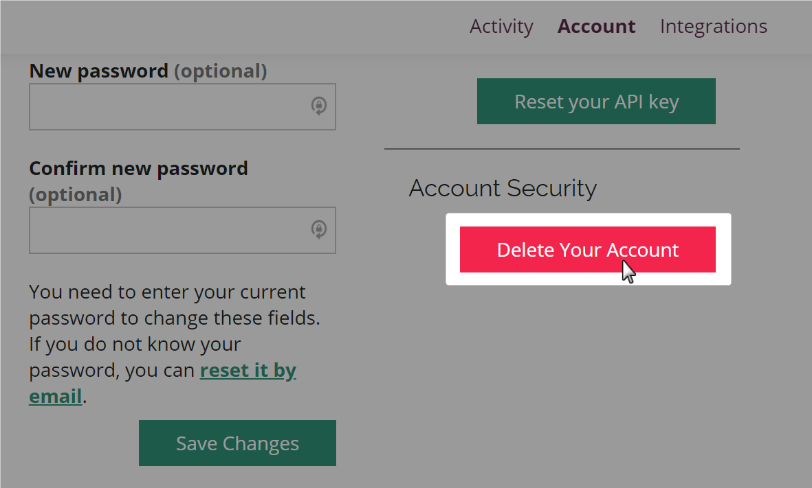 Delete Your Account button highlighted with a mouse on the Amara user account page