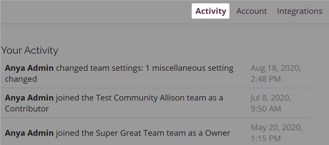 The activity tab highlighted on an Amara user account page