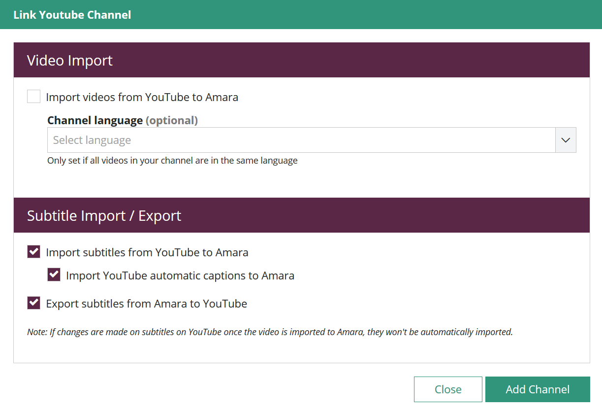 Link YouTube channel modal in Amara team with importing and exporting options for videos and subtitles.