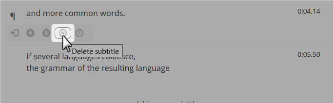 Delete subtitle option in the subtitle cell hover menu in the Amara Editor
