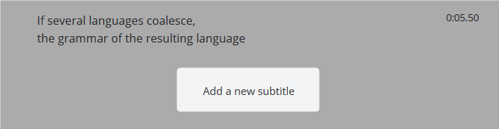 Add a new subtitle button highlighted at the bottom of the editing panel in the Amara Subtitle Editor.